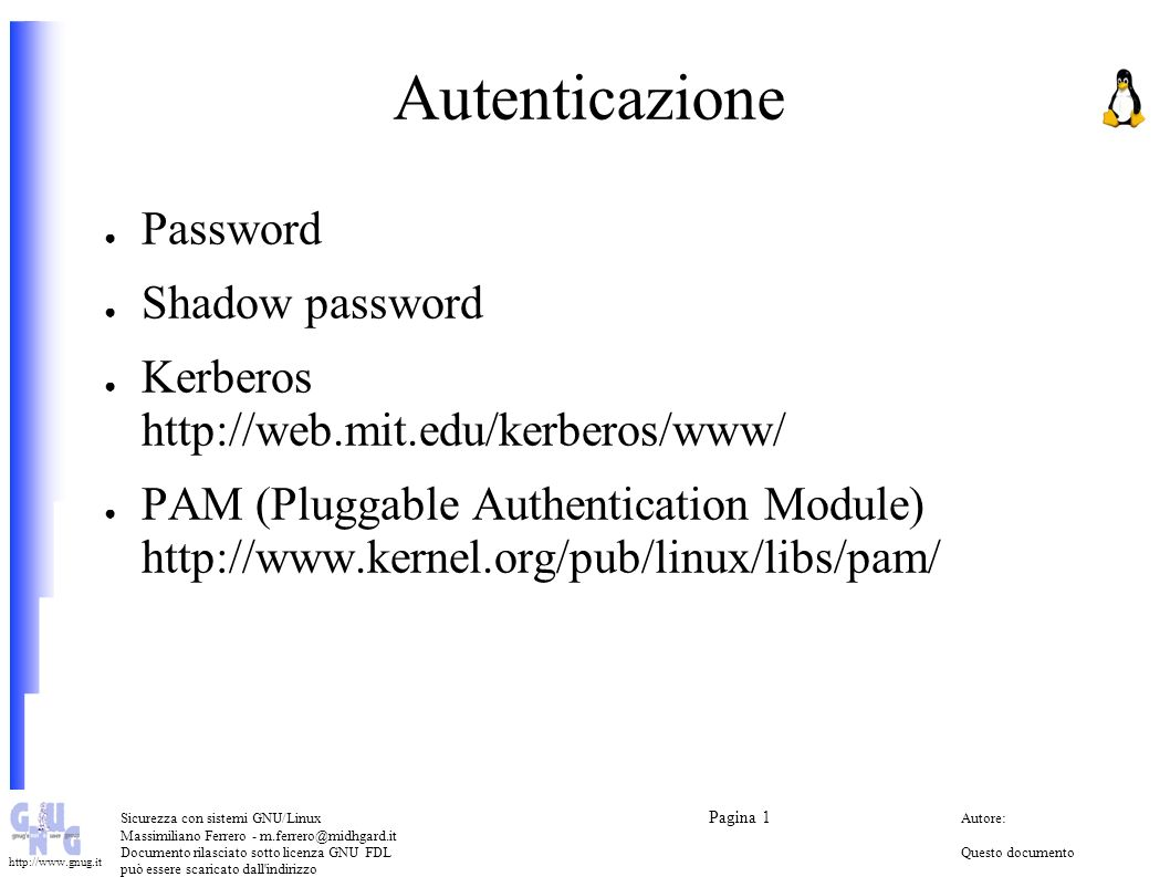 Autenticazione Password Shadow password