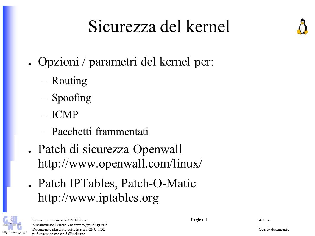 Sicurezza del kernel Opzioni / parametri del kernel per: