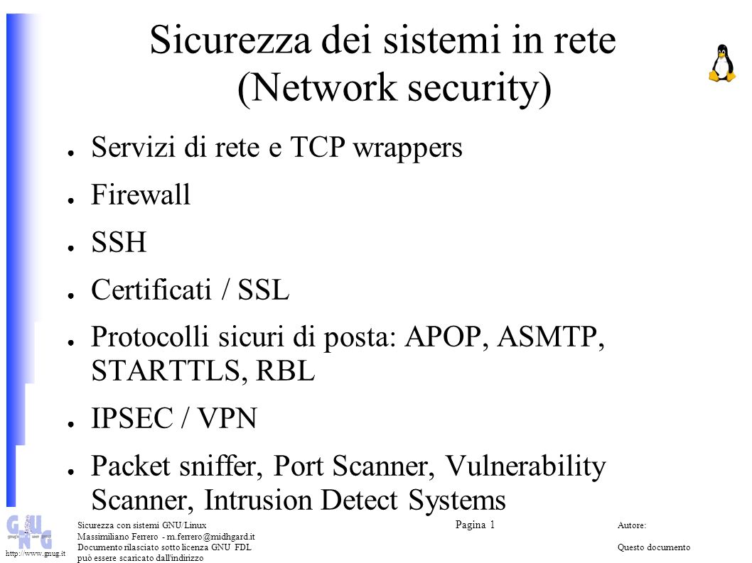 Sicurezza dei sistemi in rete (Network security)