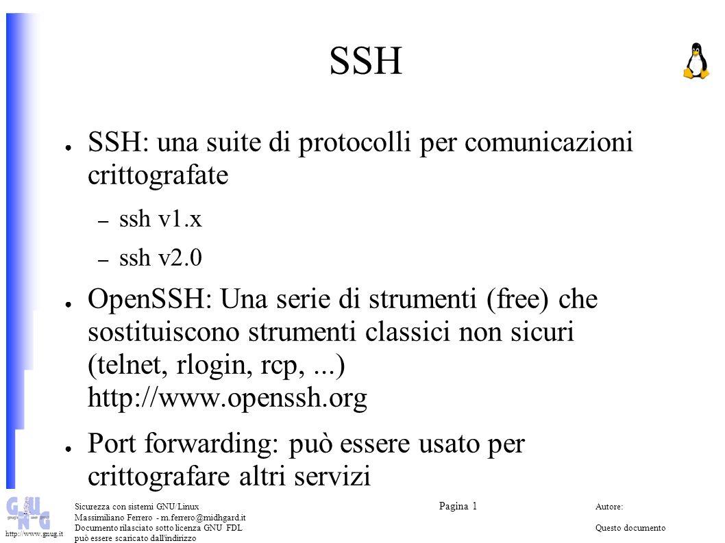 SSH SSH: una suite di protocolli per comunicazioni crittografate