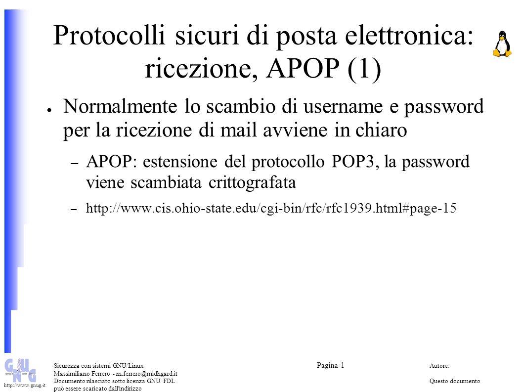 Protocolli sicuri di posta elettronica: ricezione, APOP (1)