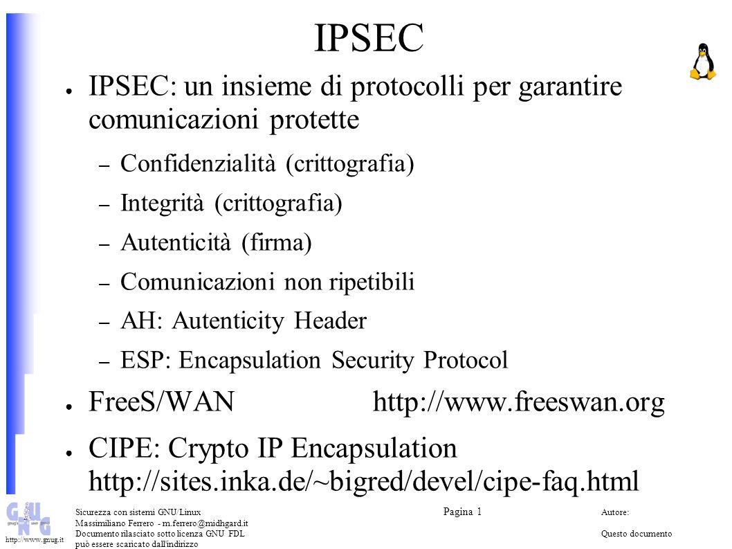 IPSEC IPSEC: un insieme di protocolli per garantire comunicazioni protette. Confidenzialità (crittografia)