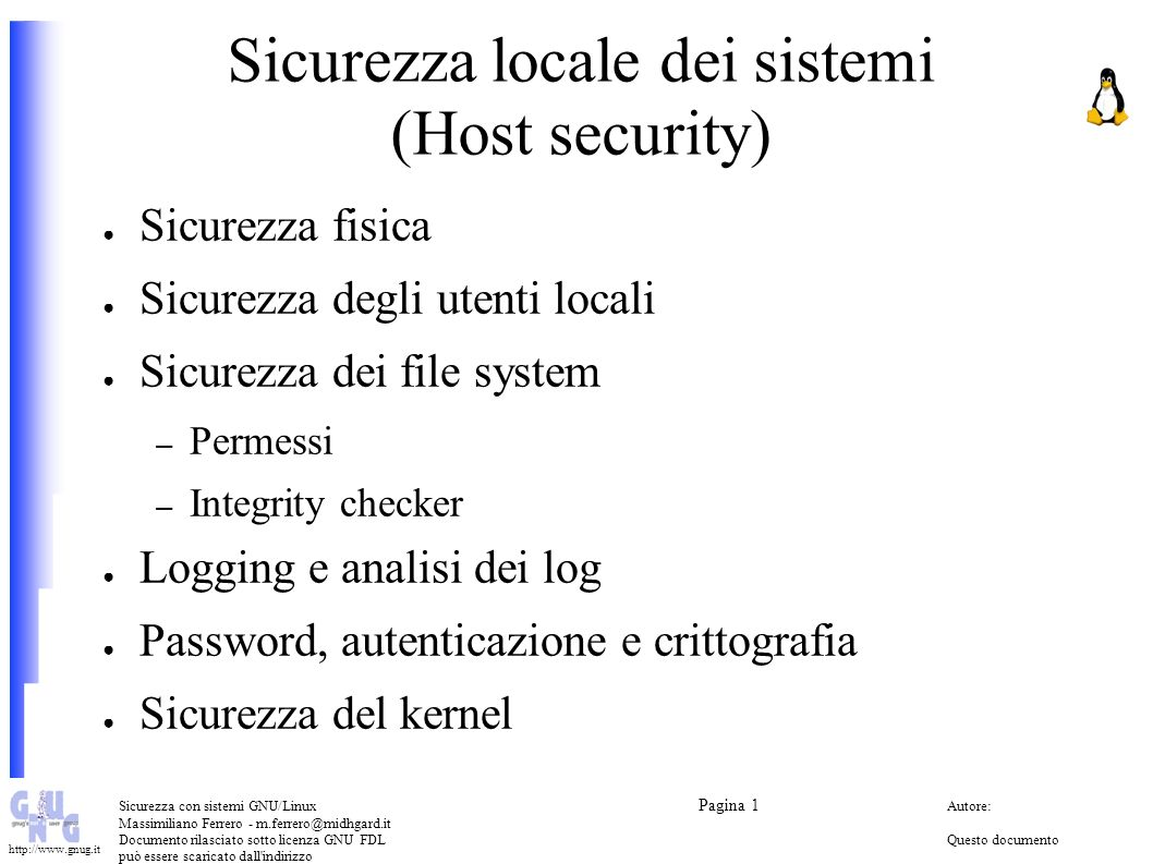 Sicurezza locale dei sistemi (Host security)