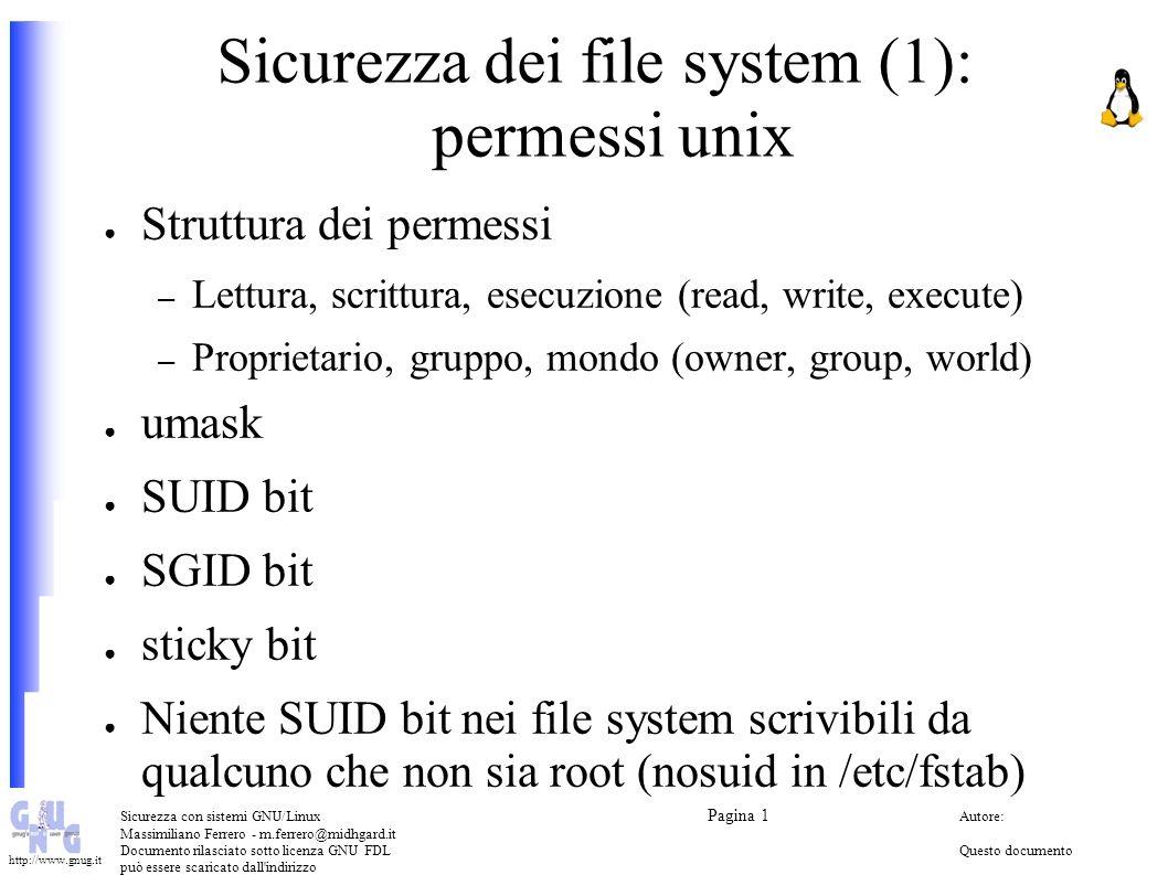 Sicurezza dei file system (1): permessi unix