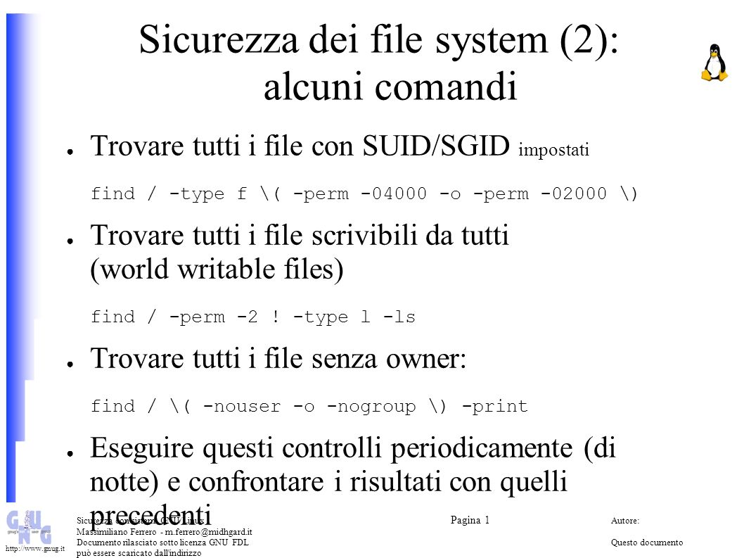 Sicurezza dei file system (2): alcuni comandi