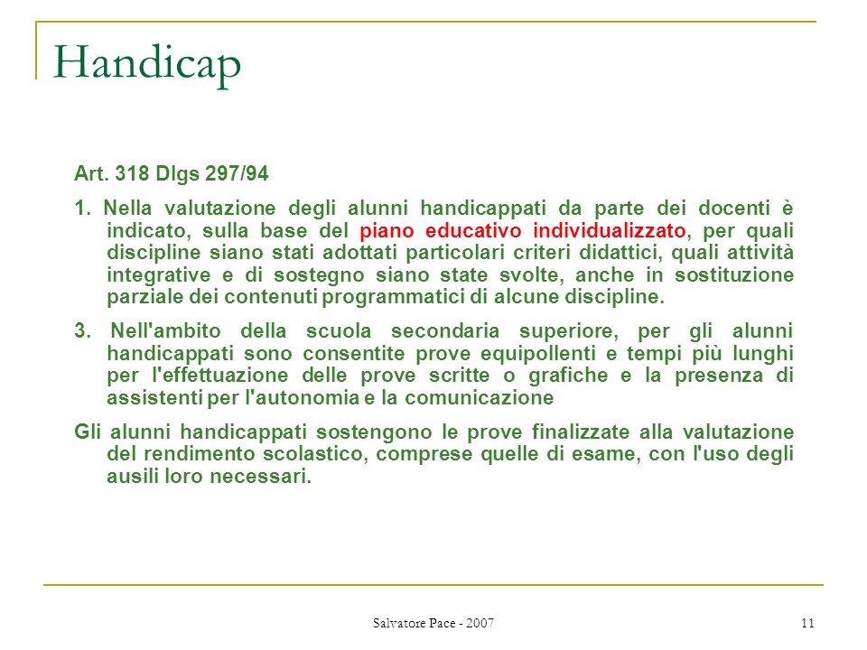 Handicap Art. 318 Dlgs 297/94.