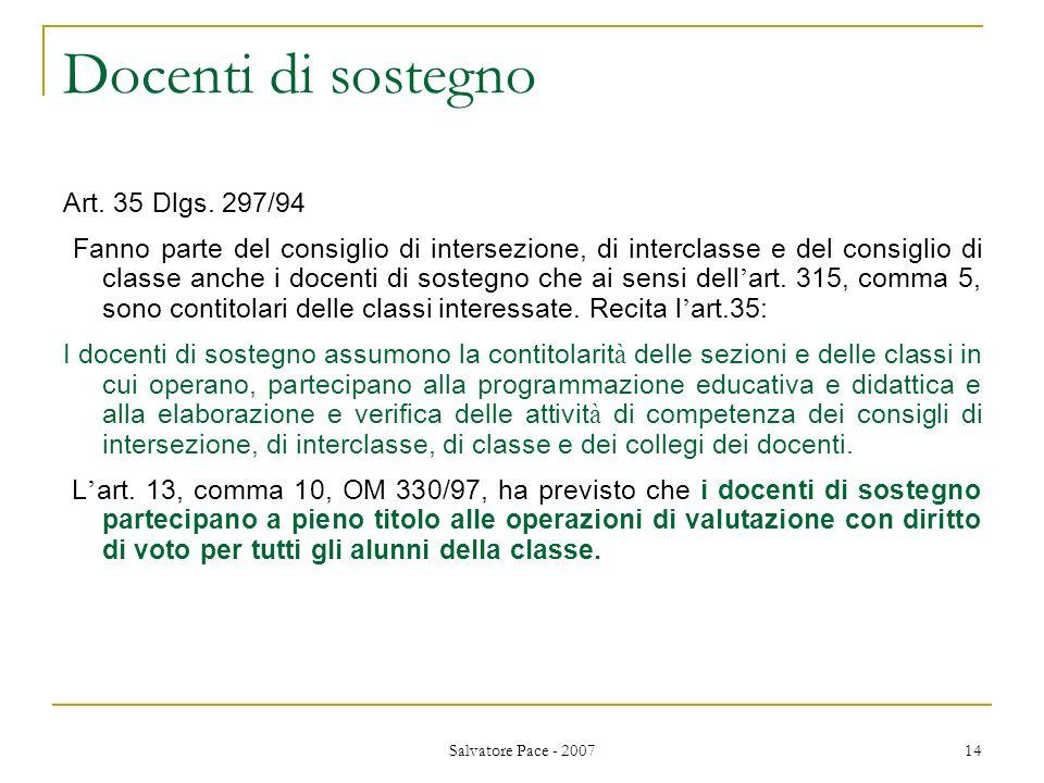 Docenti di sostegno Art. 35 Dlgs. 297/94