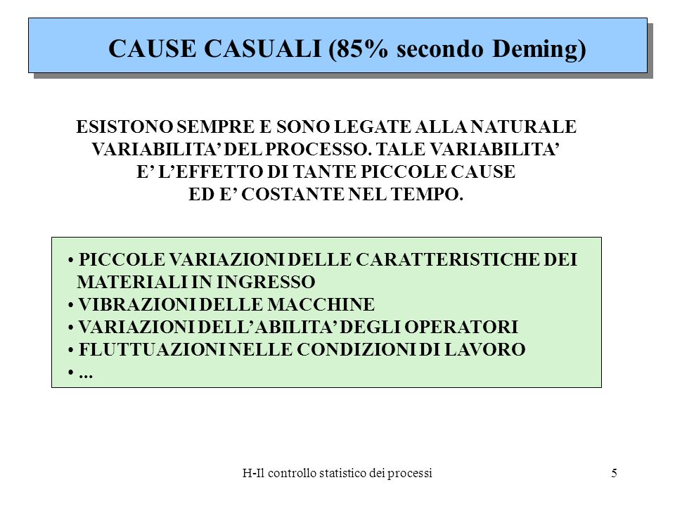 CAUSE CASUALI (85% secondo Deming)
