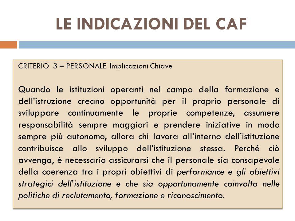 LE INDICAZIONI DEL CAF CRITERIO 3 – PERSONALE Implicazioni Chiave.