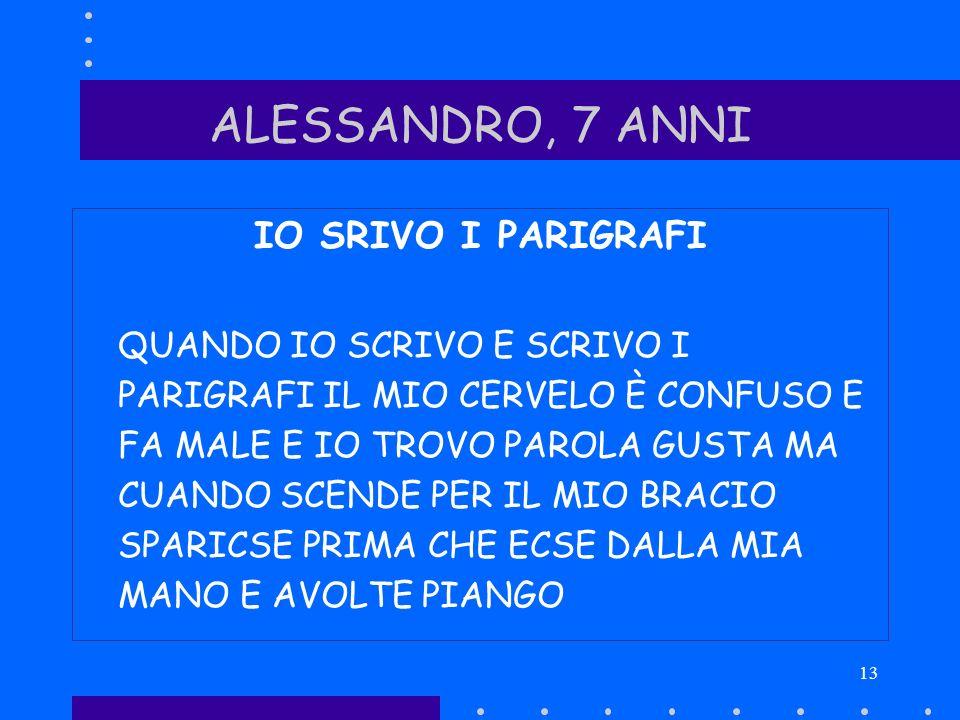 ALESSANDRO, 7 ANNI IO SRIVO I PARIGRAFI