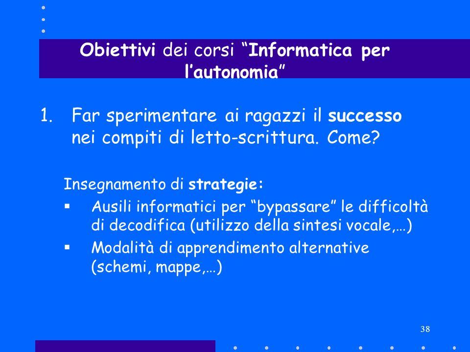 Obiettivi dei corsi Informatica per l'autonomia