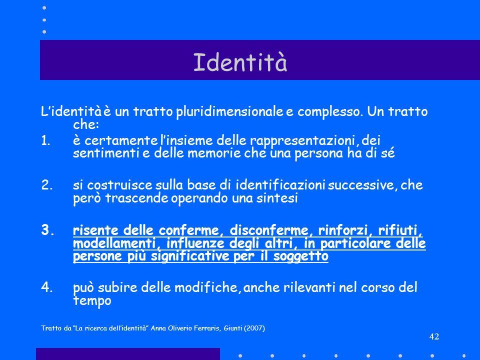 Identità L'identità è un tratto pluridimensionale e complesso. Un tratto che: