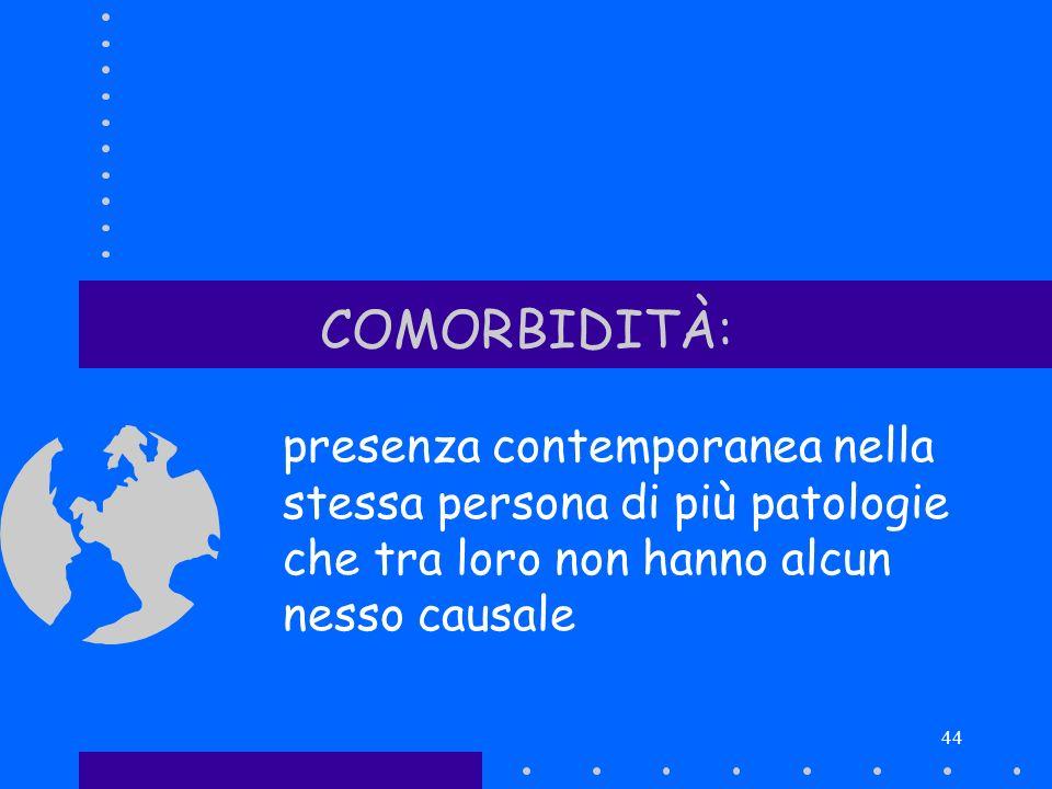 COMORBIDITÀ: presenza contemporanea nella stessa persona di più patologie che tra loro non hanno alcun nesso causale.