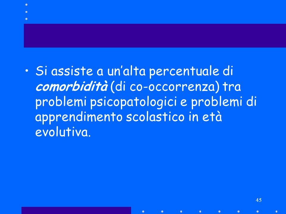 Si assiste a un'alta percentuale di comorbidità (di co-occorrenza) tra problemi psicopatologici e problemi di apprendimento scolastico in età evolutiva.