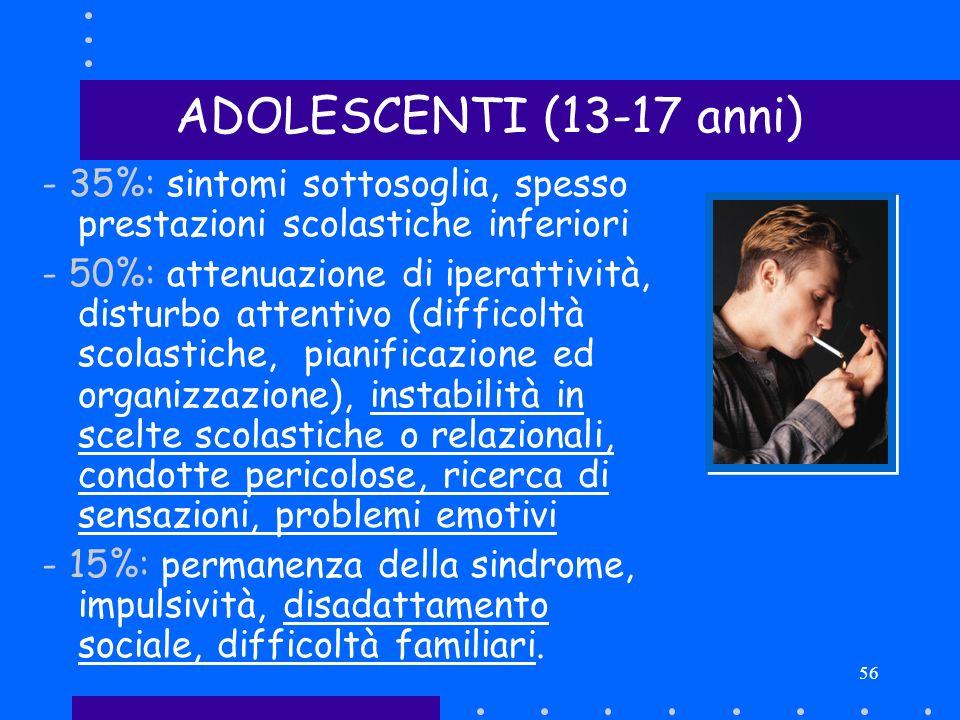 ADOLESCENTI (13-17 anni) Scopo: Descrivere la psicopatologia dell ADHD negli adolescenti. Bibliografia:
