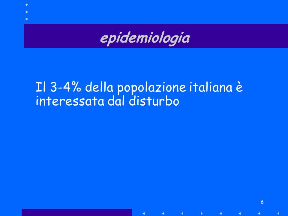 epidemiologia Il 3-4% della popolazione italiana è interessata dal disturbo