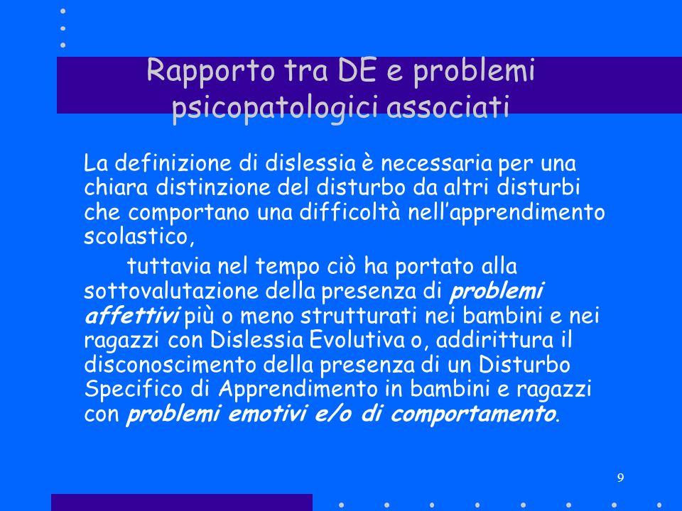 Rapporto tra DE e problemi psicopatologici associati