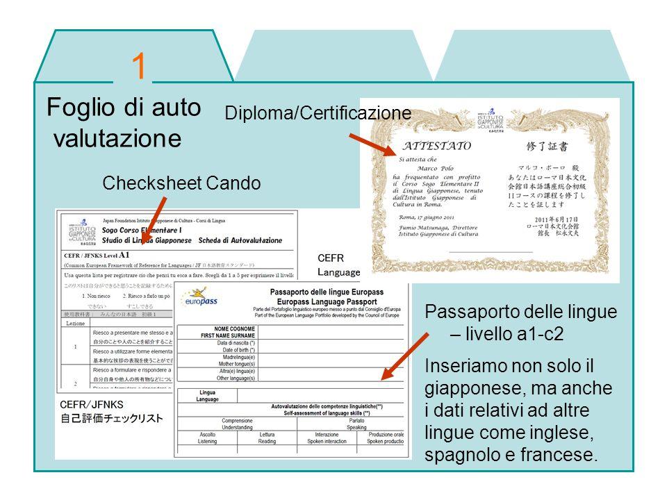 1 Foglio di auto valutazione Diploma/Certificazione Checksheet Cando