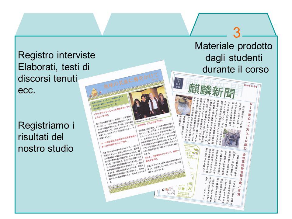 3 Materiale prodotto dagli studenti Registro interviste