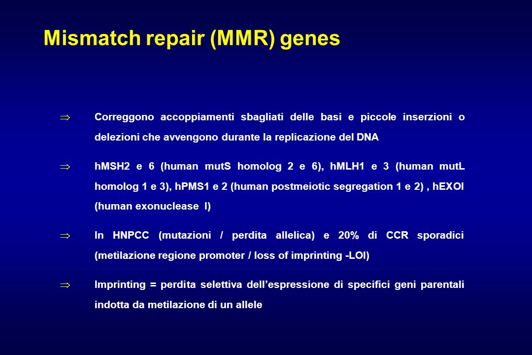 Mismatch repair (MMR) genes