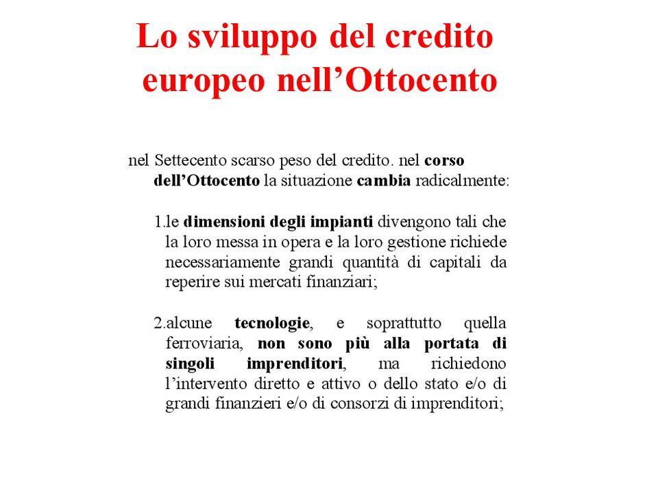 Lo sviluppo del credito europeo nell'Ottocento