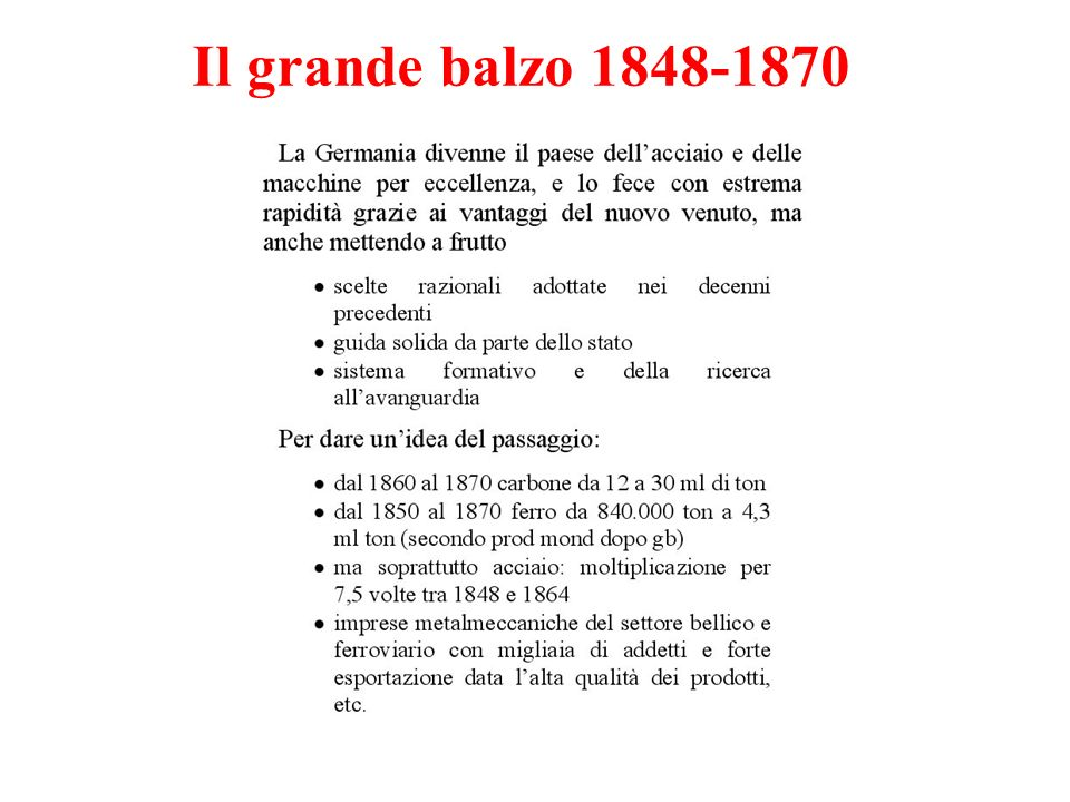 Il grande balzo 1848-1870