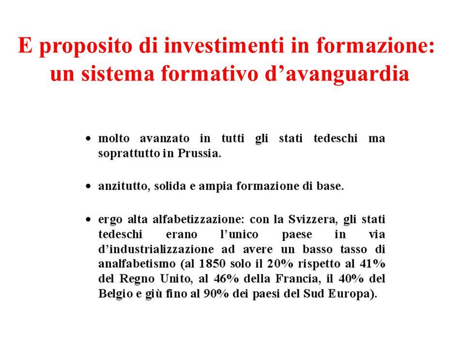 E proposito di investimenti in formazione: un sistema formativo d'avanguardia