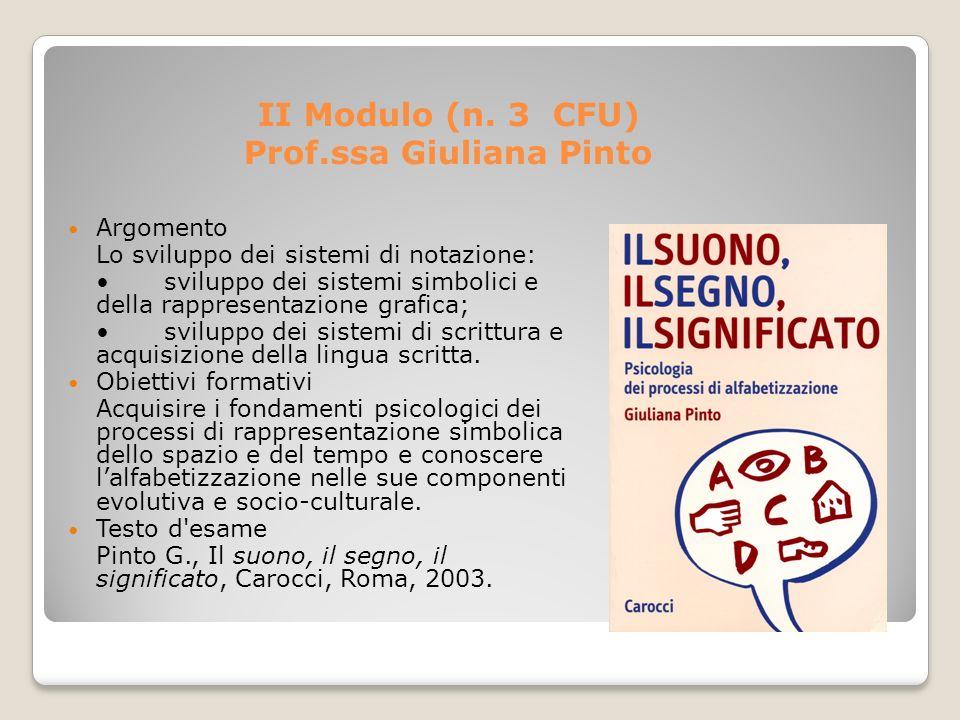 II Modulo (n. 3 CFU) Prof.ssa Giuliana Pinto