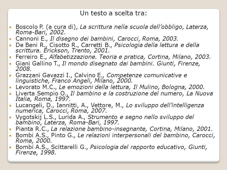 Un testo a scelta tra: Boscolo P. (a cura di), La scrittura nella scuola dell'obbligo, Laterza, Roma-Bari, 2002.