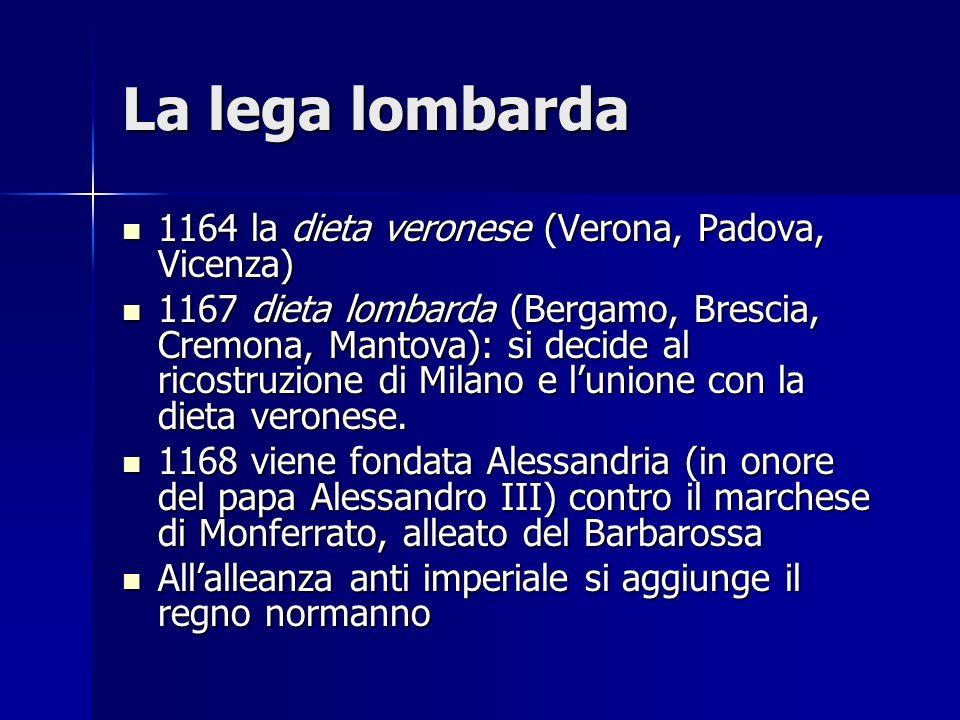 La lega lombarda 1164 la dieta veronese (Verona, Padova, Vicenza)