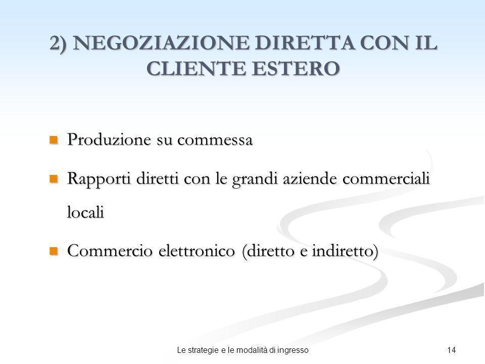2) NEGOZIAZIONE DIRETTA CON IL CLIENTE ESTERO