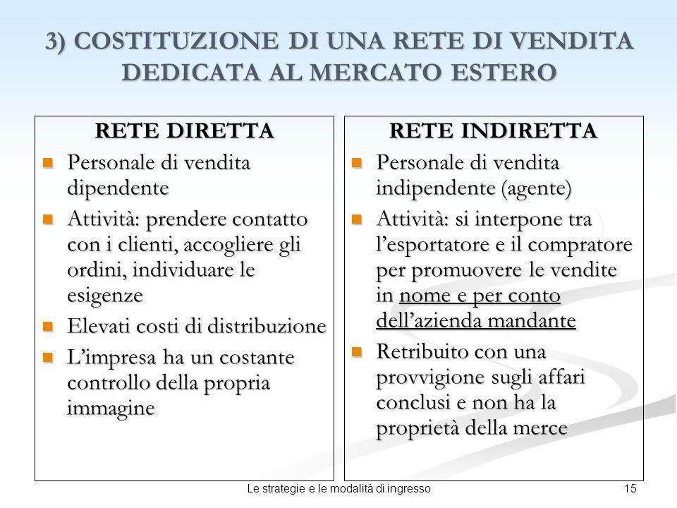 3) COSTITUZIONE DI UNA RETE DI VENDITA DEDICATA AL MERCATO ESTERO