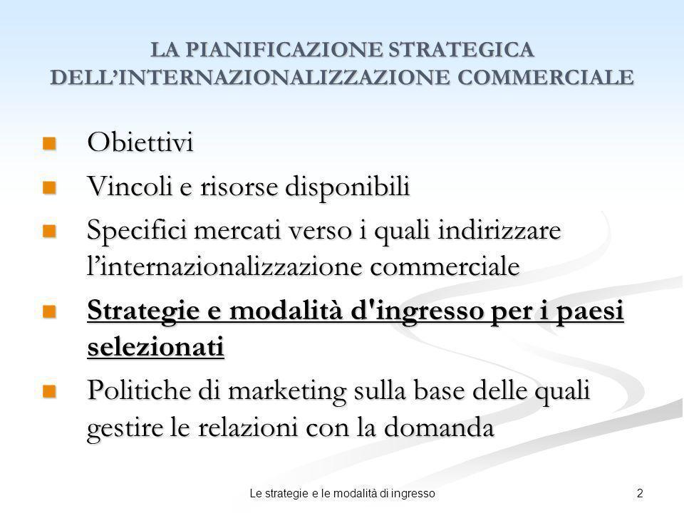 LA PIANIFICAZIONE STRATEGICA DELL'INTERNAZIONALIZZAZIONE COMMERCIALE