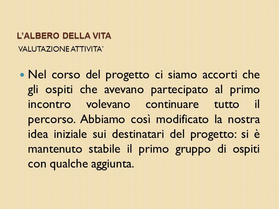 L'ALBERO DELLA VITA VALUTAZIONE ATTIVITA'