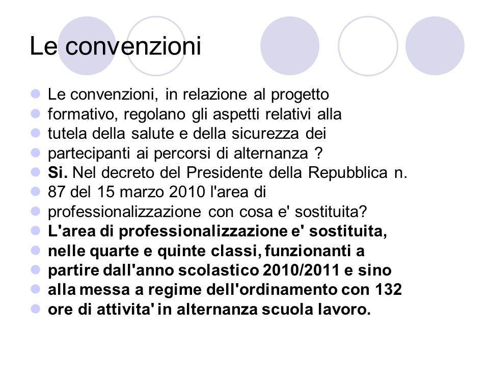 Le convenzioni Le convenzioni, in relazione al progetto