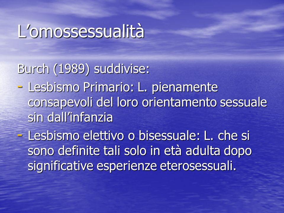 L'omossessualità Burch (1989) suddivise: