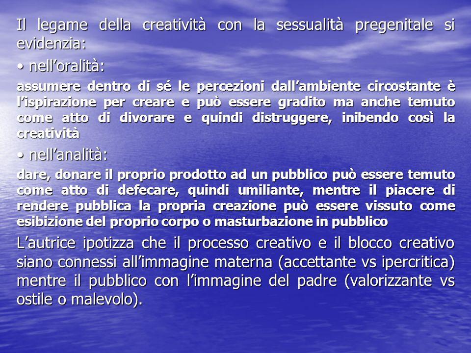 Il legame della creatività con la sessualità pregenitale si evidenzia: