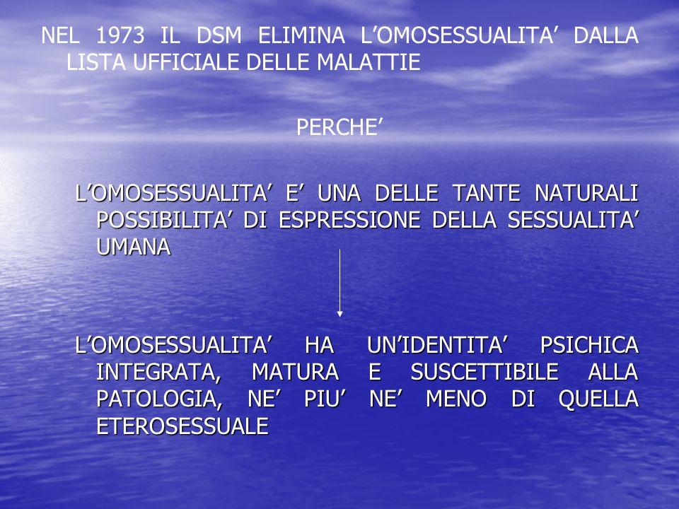 NEL 1973 IL DSM ELIMINA L'OMOSESSUALITA' DALLA LISTA UFFICIALE DELLE MALATTIE