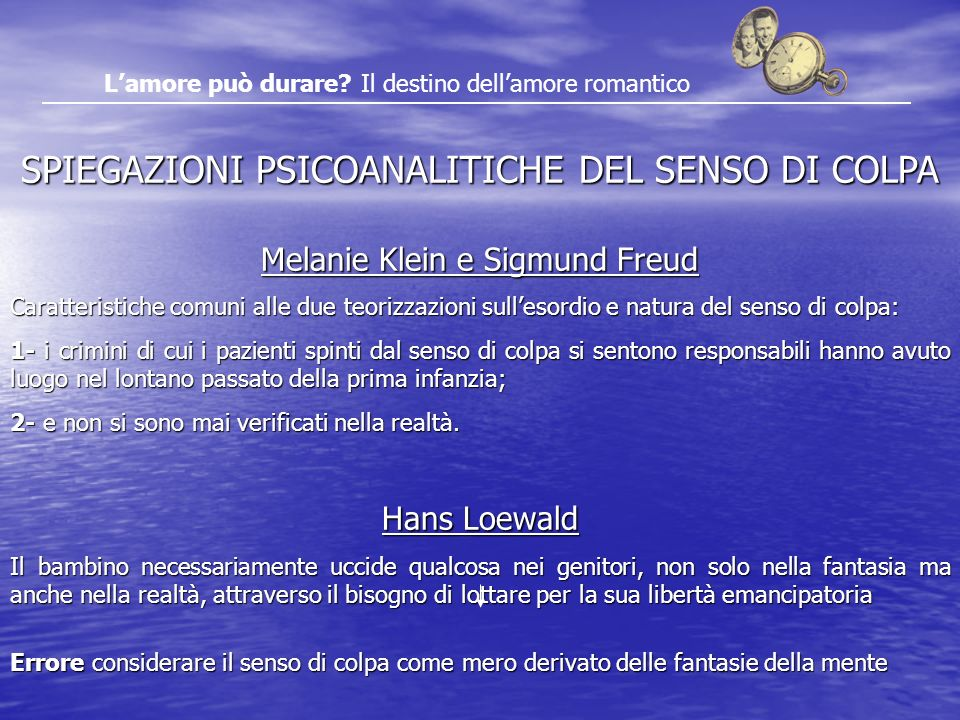 SPIEGAZIONI PSICOANALITICHE DEL SENSO DI COLPA
