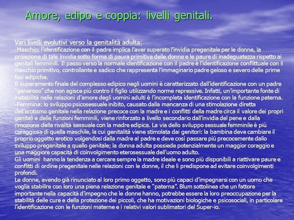 Amore, edipo e coppia: livelli genitali.
