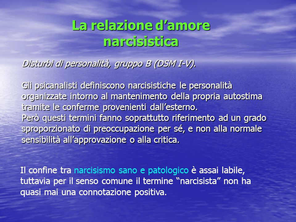 La relazione d'amore narcisistica