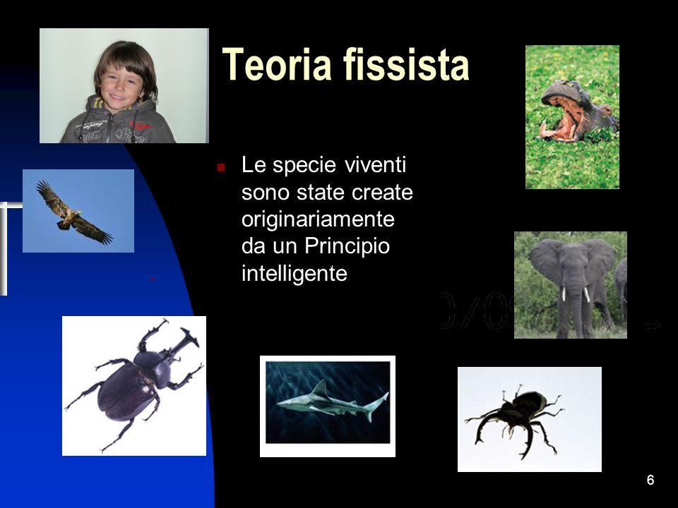 Teoria fissista Le specie viventi sono state create originariamente da un Principio intelligente.