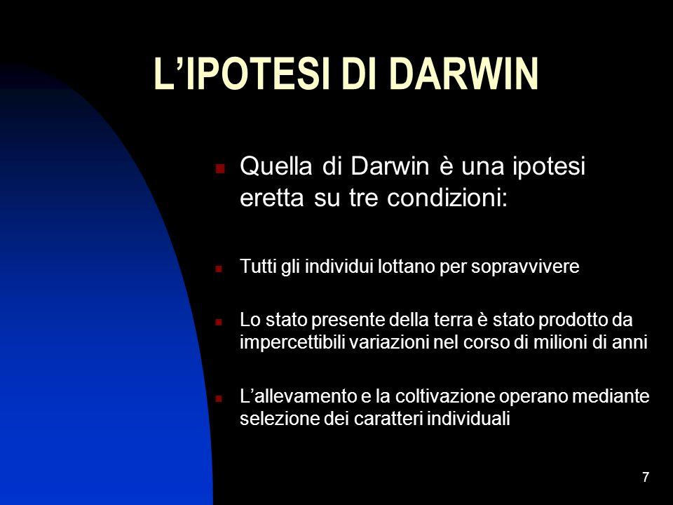 L'IPOTESI DI DARWIN Quella di Darwin è una ipotesi eretta su tre condizioni: Tutti gli individui lottano per sopravvivere.