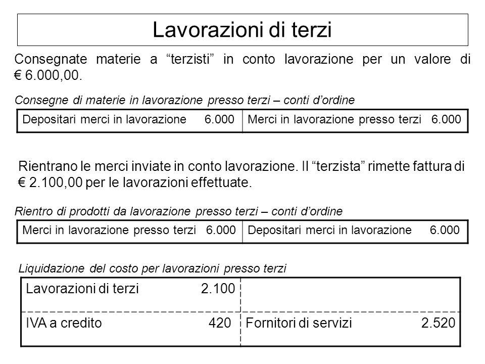 Lavorazioni di terzi Consegnate materie a terzisti in conto lavorazione per un valore di € 6.000,00.