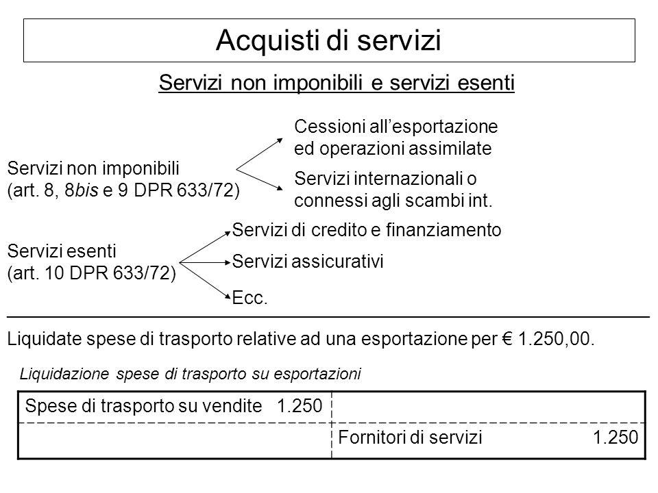 Servizi non imponibili e servizi esenti