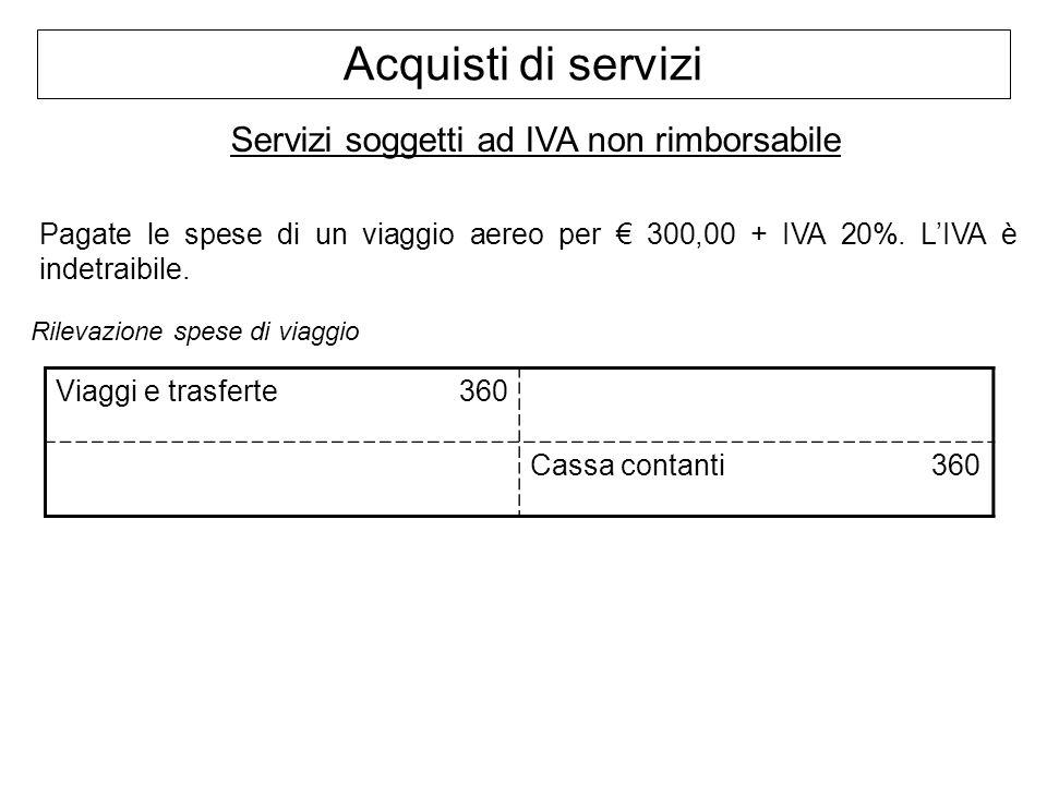 Servizi soggetti ad IVA non rimborsabile