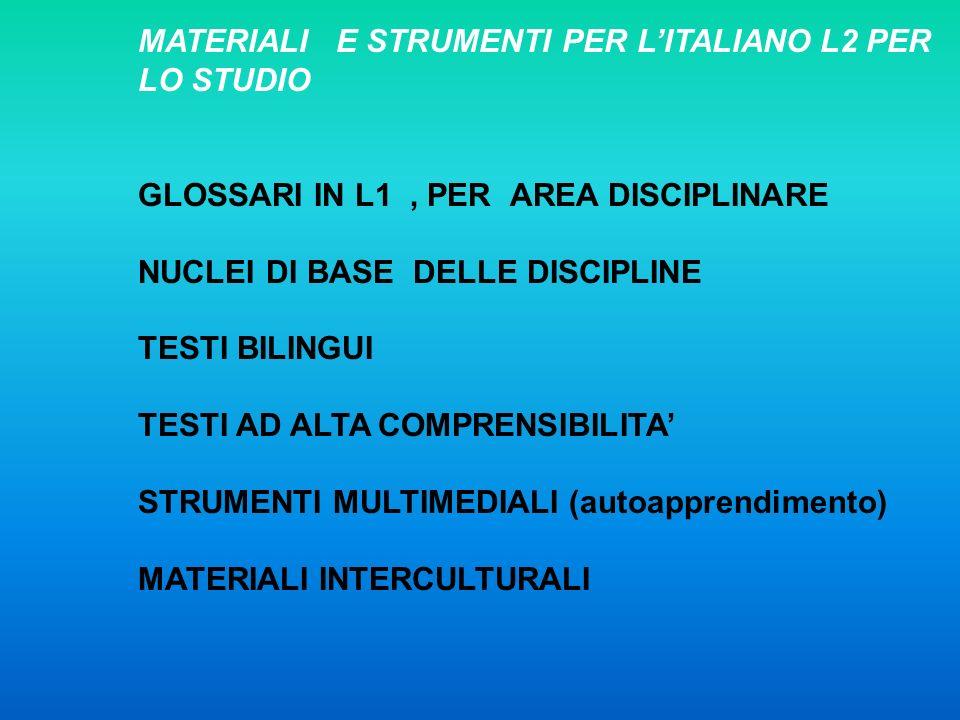 MATERIALI E STRUMENTI PER L'ITALIANO L2 PER LO STUDIO