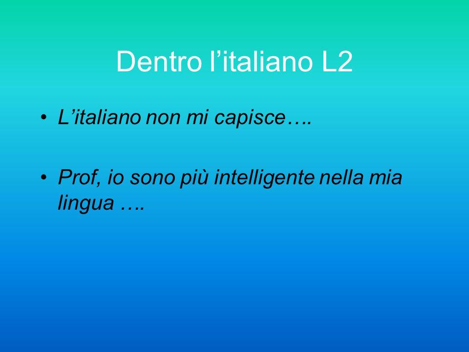 Dentro l'italiano L2 L'italiano non mi capisce….