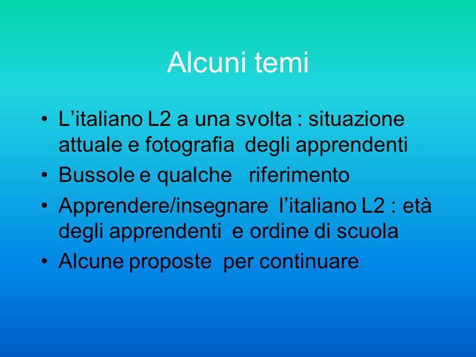 Alcuni temiL'italiano L2 a una svolta : situazione attuale e fotografia degli apprendenti. Bussole e qualche riferimento.