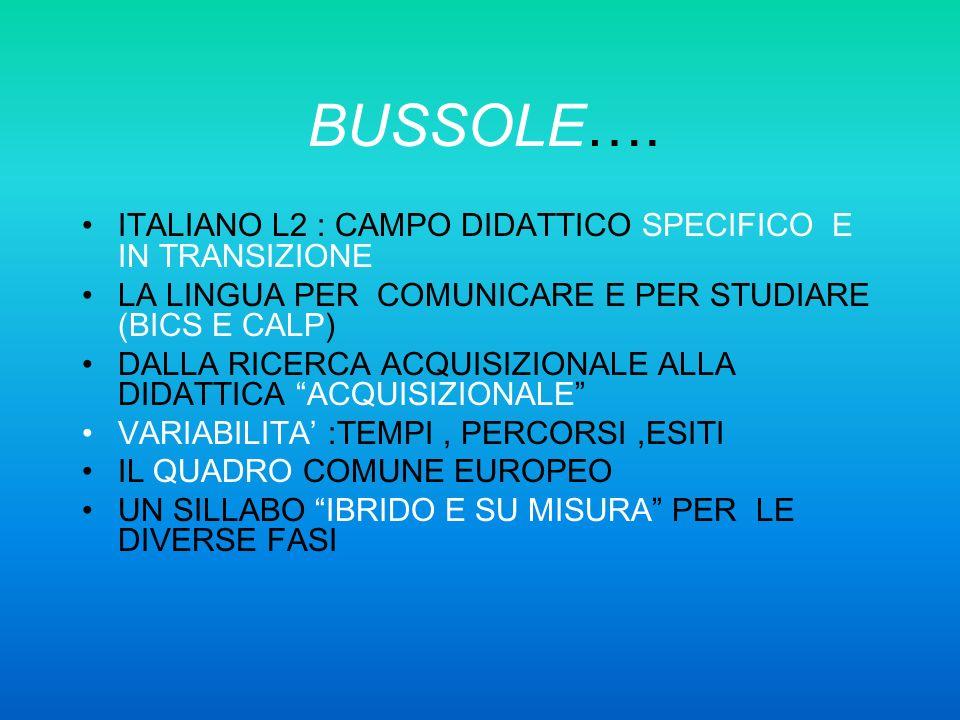 BUSSOLE…. ITALIANO L2 : CAMPO DIDATTICO SPECIFICO E IN TRANSIZIONE